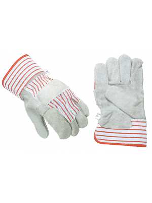 Werkhandschoenen rundsplit gevoerd rood/ grijs
